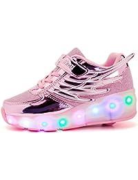Unisex Kind Jungen Mädchen einzigen Rad verborgen leichte Schuhe, roller schuhe, LED leichte Schuhe, Sportschuhe, Freizeitschuhe, Halloween, Weihnachten. rosa 29