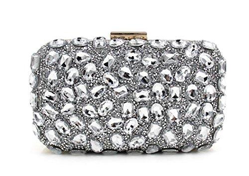 WYB Diamant-Handtasche / einseitige Bohren heißen Abendtasche / Abendtasche / Frau Clutch / Umhängetasche Silver