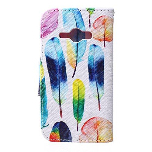 Boxtii® Custodia per Samsung Galaxy A32015, custodia a libro e vetro di protezione temperato, pelle sintetica di qualità, con clip magnetica e scomparti per tessere, elegante e anti-graffio, antiurto #2 Feather