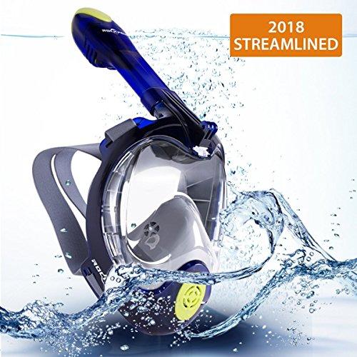 Rockpals Tauchermaske mit 180-Grad-Sicht Schnorchelmaske Vollmaske Anti Fog Anti Leak (L/XL, Upgrade-Blau)
