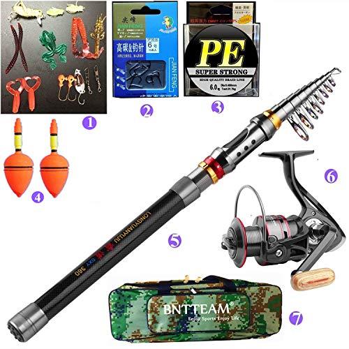 BNTTEAM, set da pesca, 5 articoli inclusi: canna da pesca telescopica da 2,1/2,4/3 m, in 99% carbonio + mulinello 11BB + borsa da pesca + esche + filo da pesca-2.4M
