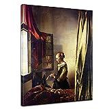 Bilderdepot24 Tela Immagine Jan Vermeer - Antichi Maestri Donna Che Legge Una Lettera Davanti alla Finestra 60x80cm - Completamente incorniciato, Direttamente dal Produttore