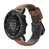 XingWangFa for Suunto Core Straps Armbands Genuine Leather Wrist Strap Replacement Watch Armband for Suunto Core SmartWatch-Brown