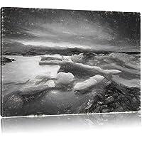 ghiaccio estremo effetto disegno paesaggio carbone, formato: 120x80 su tela, XXL enormi immagini completamente Pagina con la barella, stampa d'arte sul murale con telaio, più economico di pittura o un dipinto a olio, non un manifesto o un banner,