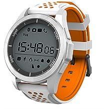 NO.1 F3 Sports Smartwatch Bluetooth 4.0 IP68 cámara remota a prueba de agua recordatorio sedentario Sleep / Call Monitor podómetro (Naranja/Blanco)