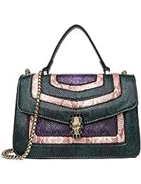 0714f05b98f8c Schlange Muster Handtasche 2019 neue kleine quadratische Tasche Herbst und  Winter Kontrast Farbe Diagonale Kette Tasche Schlange Kopf Metall…