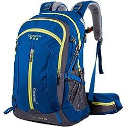 Wasserdichter Rucksack mit 40L Wanderrucksack Fassungsvermögen aus strapazierfähigem Nylon mit Regenschutzhülle. Großer Trekkingrucksack, perfekt zum Wandern, Bergsteigen, Reisen und für Sport und Camping. (40L 02 Blau, 40L)