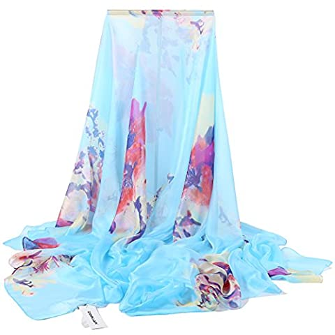 ZORJAR Pointed Twill Chiffon Sarong Wrap Beach Cover Up Large
