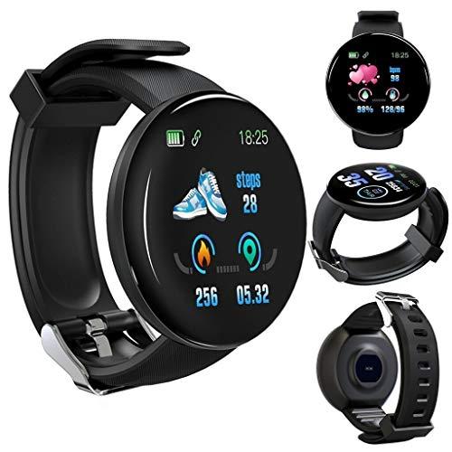 QHJ Fitness Armbanduhr Wasserdicht Smart Watch Fitness trackers Sport Uhr mit Schrittzähler, Pulsmesser Musiksteuerung, Schlaf-Monitor, Call SMS (ASchwarz)