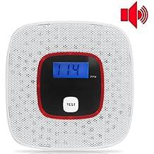 Detector de Monóxido de Carbono,Pantalla Digital Alarma de CO, Notificación de Voz (English), Control Inteligente por Microprocesador, LCD Pantalla,Alimentado por batería Detectores de gas ( No incluye la batería )