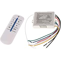 iXport™ Plastic Wireless 4 Way on/Off Wall Lamp Light RF Remote Control Switch Module Receiver and Controller, 220V