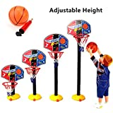 FunnyGoo verstellbares Mini-Basketball-Set, tragbares Spielzeug mit Basketballkorb, Brett, Ball und Pumpe, für Kinder, Kleinkinder, drinnen und draußen, mehrfarbig, mini 150cm