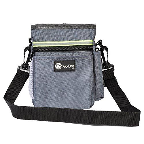 Futtertasche Hundtraining – Futterbeutel für Hunde, verstellbare Hüftgurt oder über den Schultergurt, Netztasche, 6 Aufnahmetaschen, Einbau-Müllspender – 3 Wege zu Tragen – Grau