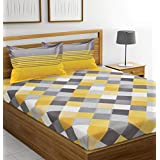 Ahmedabad Cotton 144 TC 100% Cotton Double Bedsheet with 2 Pillow Covers - Yellow and Grey