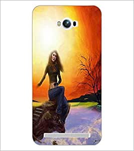 PrintDhaba Sitting Girl D-4190 Back Case Cover for ASUS ZENFONE MAX ZC550KL (2016) (Multi-Coloured)