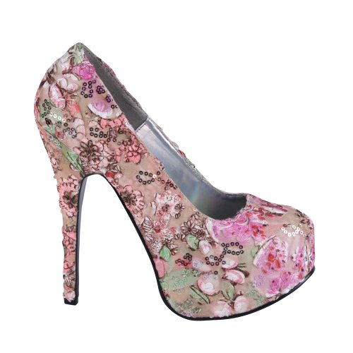 Pleaser Usa Shoes - Teeze-06-6 - Pink Multi Floral Fabric