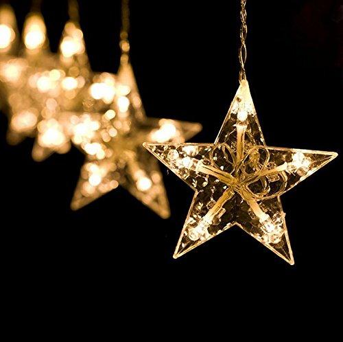 2m 138 LED-Lichter Sternenvorhang Weihnachtlicher Lichterkette Stern Weihnachtsdeko 8 Modi Warmweiß