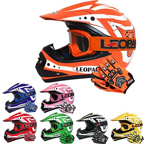 Leopard LEO-X17 Casco da Motocross per Bambini e Occhiali e Guanti da Motocross per Bambini - Arancia M (51-52cm) - Cross e off-Road Motocicletta ATV Quadrilatero ECE 22-05 Approvato