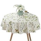 Ommda Tischdecke Wasserabweisend PVC Abwaschbar Blumendruck Tischdecke Rund für Runde Tabelle 130cm Durchmesser Grüne Frucht
