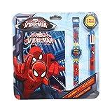Orologio bambini Spiderman Marvel Comics con Penna e Blocco Note