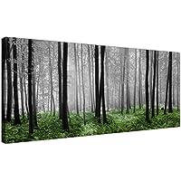 Moderno Negro Blanco Verde Bosque escena lienzo impresiones de los árboles forestales–Wallfillers®