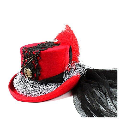 HXGAZXJQ Gotischer Steampunk Neo viktorianischer schwarzer und roter Hochzeitshut (Farbe : Rot, Größe : ()