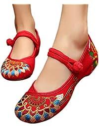 DAZISEN Zapatos Retro Sandalias para Mujer - Zapatos Vestido Bordado para Mujer Mary Jane