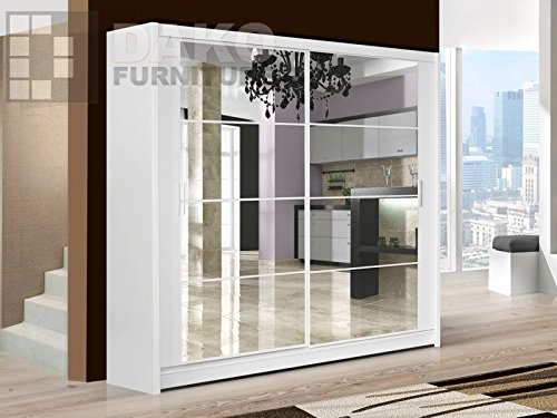 Sliding Door Wardrobe DAKOTA 203 White with Mirror for sale  Delivered anywhere in UK