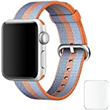 J Replacement Woven Nylon Watch Strap For Apple Watch IWatch Series 1, Series 2 , Series 3 42MM Orange Blue Plus Screen Guard (Watch Not Included)
