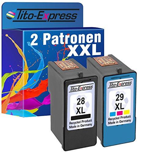 Tito-Express PlatinumSerie Farbset 2x Tinten-Patrone für Lexmark 28 XL & 29 XL Black X2500 X5070 X5075 X5490 X5495 Z1300 - 28 Tintenpatrone Lexmark