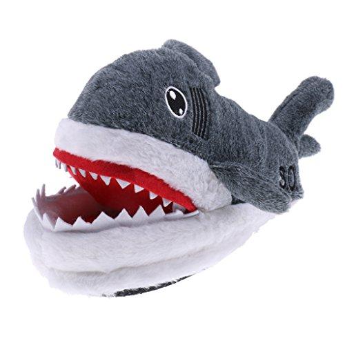 MagiDeal Große Hai Form Hausschuhe Plüsch Schlappen Tier Pantoffel Erwachsene (Große Tier-hausschuhe)