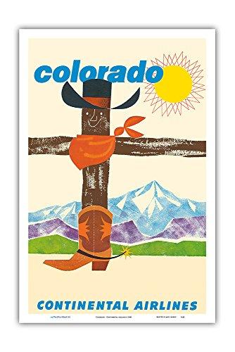 Pacifica Island Art Colorado - Continental (Fluggesellschaft) - Cowboy Hut, Bandana, Cowboy Stiefel - Vintage Retro Fluggesellschaft Reise Plakat c.1960 - Kunstdruck - 31cm x 46cm