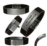 Herren Lederarmband XXL Gravurplatte mit Laser Gravur Büffel Leder Armband (20 Zentimeter) - 6