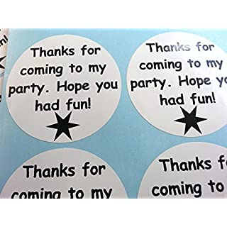 24 Party Bag Thank You Stickers - Black on White