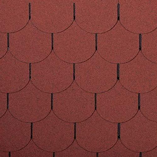 2m² Dachschindeln Biber Form ziegelrot 14 Stück Bitumendachschindel Dach Ziegel Abdichtung Bitumen Biberschwanz