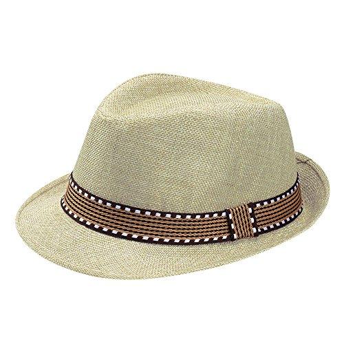 inder Mädchen Junge Mode Jazz Mütze Kappe Strand Sonnenhut Faltbarer Trilby Gangster Hut mit Sonnenschutz breite Krempe für 2-6 Jahre Baby (Beige) ()