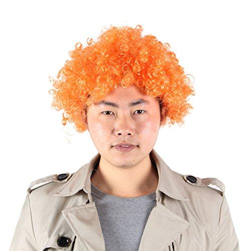 sourcingmap® Halloween Männer Frauen Orange Curly Afro Zirkus-Clown-Peruecke