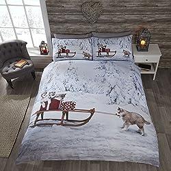 Natale Husky Cane Husky Cute cucciolo di Natale Slitta Copripiumino Matrimoniale e 2federe Set di biancheria da letto,, King