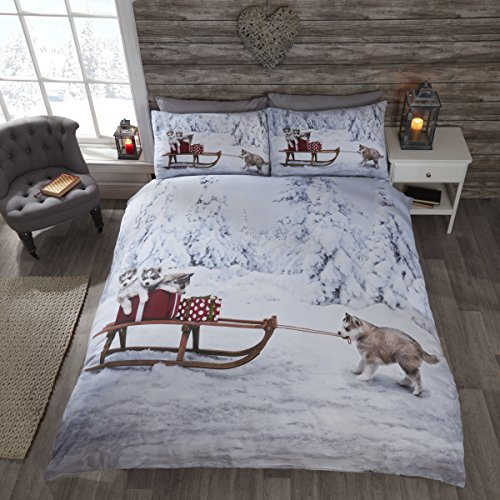 Christmas husky dog - set di biancheria da letto singolo, copripiumino e federa,, motivo natalizio con cani husky e slitta
