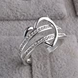 Skyllc® Delicado brillante en forma de corazón del anillo de compromiso de diamantes de la boda del Rhinestone de la Mujer