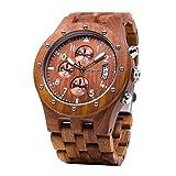 BEWELL Uhren Aus Holz Herrenuhr Chronograph Quarzwerk mit Holzarmband Datum Kalender Stoppuhr Rund Holzkern Uhr (Rot)