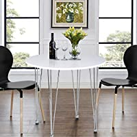ASUUNY White Dining Table, Round Kitchen Table, Small Dining Table Modern Coffee Table with Hairpin Legs for Dining Room Kitchen Office Lounge