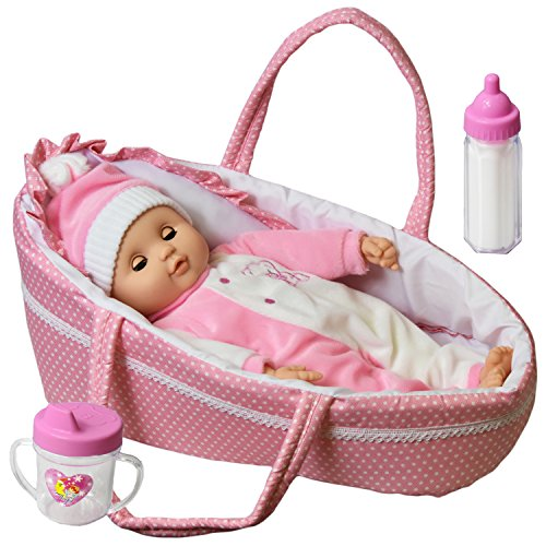 Baby Doll With Sounds & Carry Cot Bed Pillow Carry Handles Carrier Play Set 51EheKyQ54L