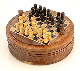 "Ages Behind Wooden Round Chess Set Dia 4"" Chess Toy Small"