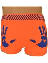 Boxer Homme, Orange Fluo et Bleu, imprimé de mains sur les fesses