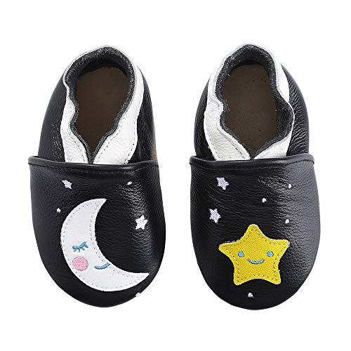 KOSHINE Weiches Leder Krabbelschuhe Baby Schuhe Kinder Lauflernschuhe Hausschuhe 0-3 Jahre (0-6 Monate, Sterne Mond) - Babys, Jungen Schuhe