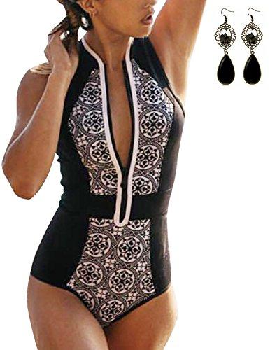 Sitengle Donna Costumi interi con Crniera Stampa Porcellana Bianca e Blu Monokini Netto Costumi da (Billabong Ragazze Bikini Top)