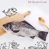 Caveen Fisch Federmäppchen Bleistift Fall Tasche Reißverschluss Offene Federmäppchen Stationery Storage Make-up Pouch- 30 x 13 cm