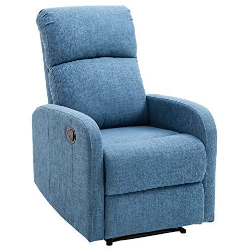 Homcom poltrona relax reclinabile manuale con poggiapiedi portata 125kg tessuto di lino 66 × 95 × 99cm blu