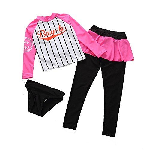 XXHDYR Langärmelige Hosen Sport Split Sonnenschutz Kinder Tauchanzüge Mädchen Baby-Bademode (Color : Pink, Size : M)